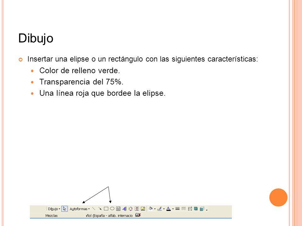 Dibujo Insertar una elipse o un rectángulo con las siguientes características: Color de relleno verde. Transparencia del 75%. Una línea roja que borde