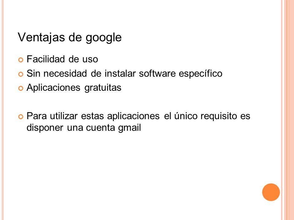 Ventajas de google Facilidad de uso Sin necesidad de instalar software específico Aplicaciones gratuitas Para utilizar estas aplicaciones el único req