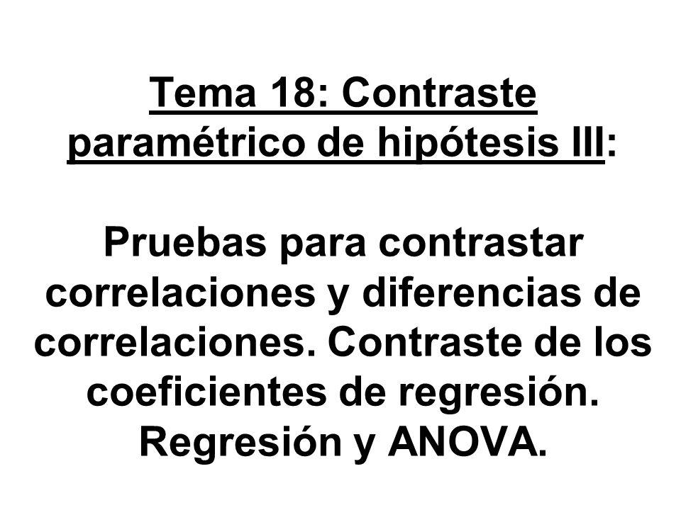 Tema 18: Contraste paramétrico de hipótesis III: Pruebas para contrastar correlaciones y diferencias de correlaciones. Contraste de los coeficientes d