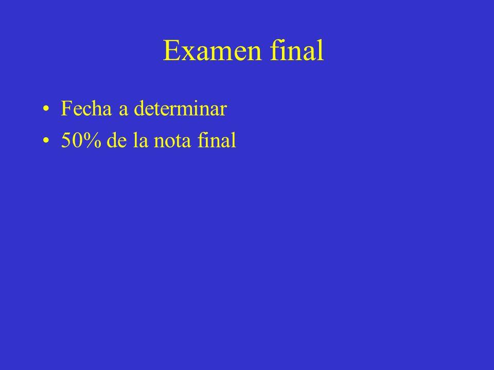 Examen final Fecha a determinar 50% de la nota final