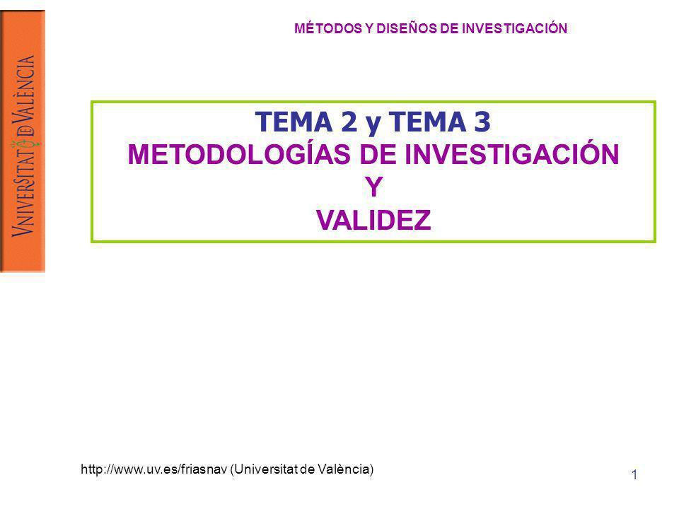 http://www.uv.es/friasnav (Universitat de València) 1 TEMA 2 y TEMA 3 METODOLOGÍAS DE INVESTIGACIÓN Y VALIDEZ MÉTODOS Y DISEÑOS DE INVESTIGACIÓN