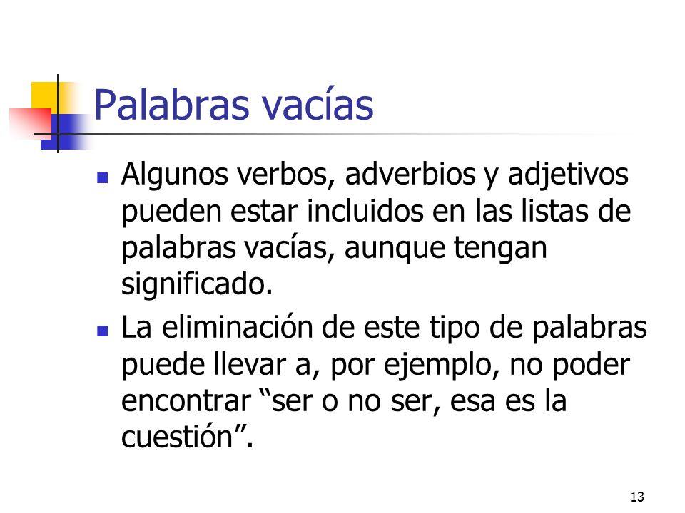 13 Palabras vacías Algunos verbos, adverbios y adjetivos pueden estar incluidos en las listas de palabras vacías, aunque tengan significado. La elimin