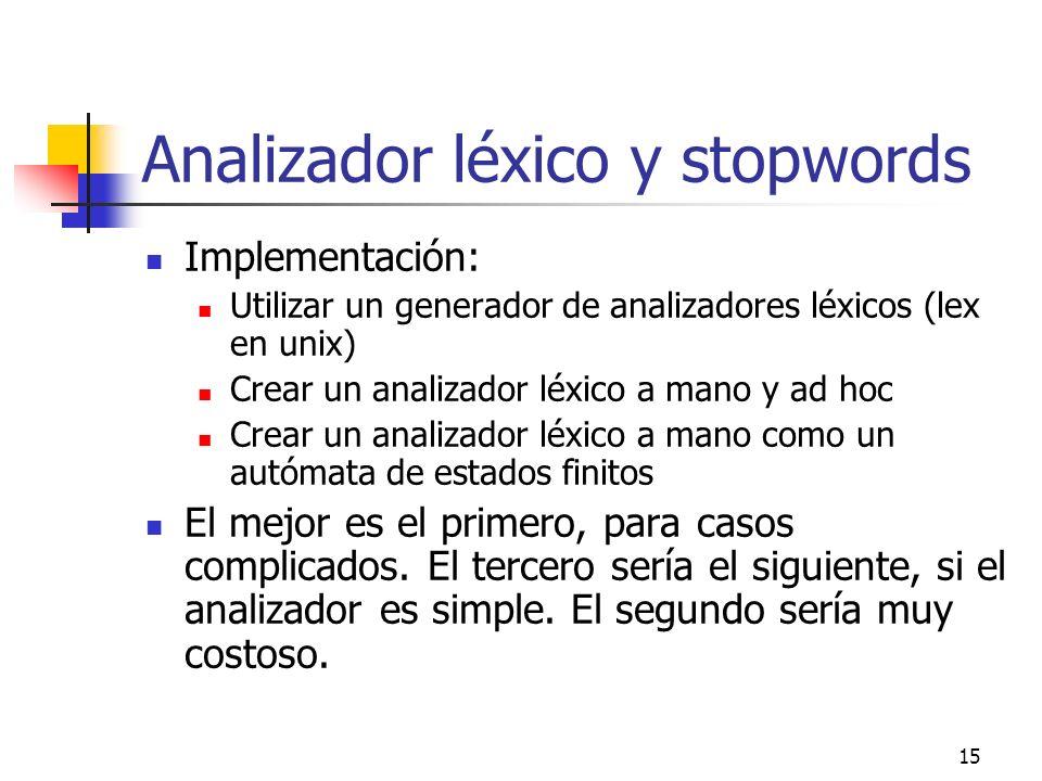 15 Analizador léxico y stopwords Implementación: Utilizar un generador de analizadores léxicos (lex en unix) Crear un analizador léxico a mano y ad ho