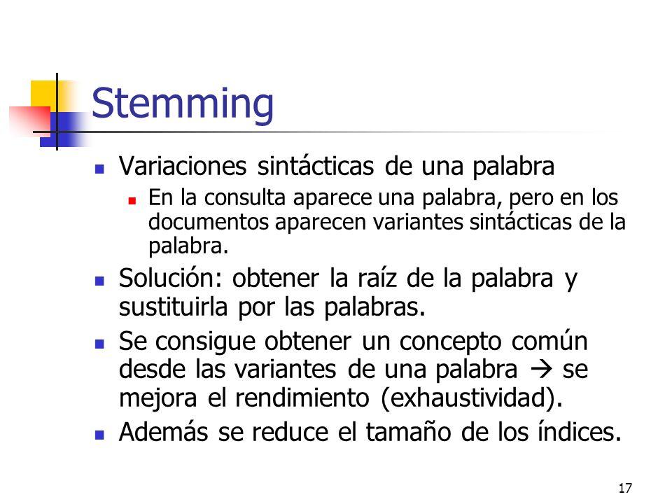 17 Stemming Variaciones sintácticas de una palabra En la consulta aparece una palabra, pero en los documentos aparecen variantes sintácticas de la pal
