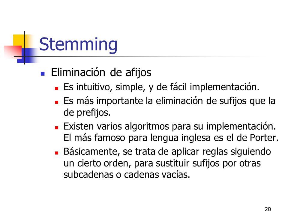 20 Stemming Eliminación de afijos Es intuitivo, simple, y de fácil implementación. Es más importante la eliminación de sufijos que la de prefijos. Exi
