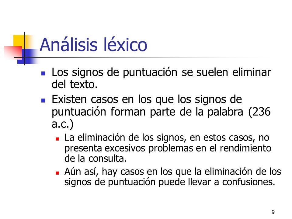 9 Análisis léxico Los signos de puntuación se suelen eliminar del texto. Existen casos en los que los signos de puntuación forman parte de la palabra