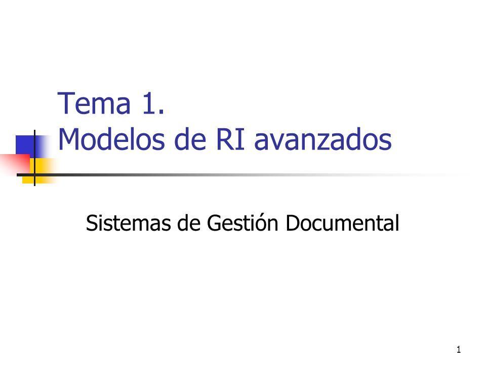 12 Modelos de RI Algunos modelos clásicos: Booleano (set theoretic) Vectorial (algebraico) Probabilístico (teoría de la probabilidad) Listas no solapadas Nodos próximos Contenido Estructura