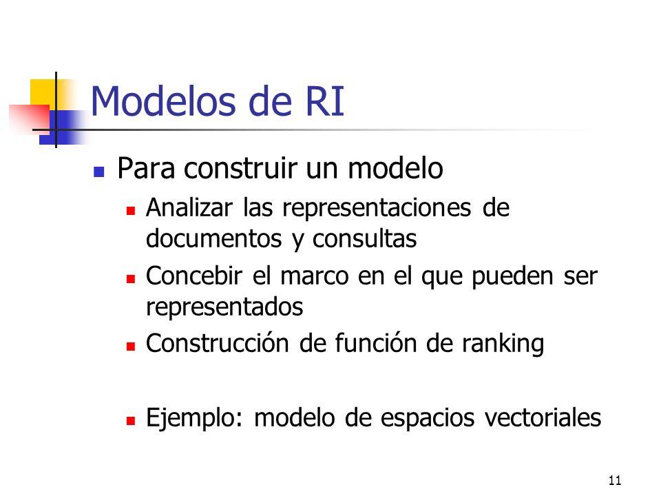11 Modelos de RI Para construir un modelo Analizar las representaciones de documentos y consultas Concebir el marco en el que pueden ser representados