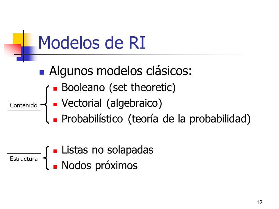12 Modelos de RI Algunos modelos clásicos: Booleano (set theoretic) Vectorial (algebraico) Probabilístico (teoría de la probabilidad) Listas no solapa