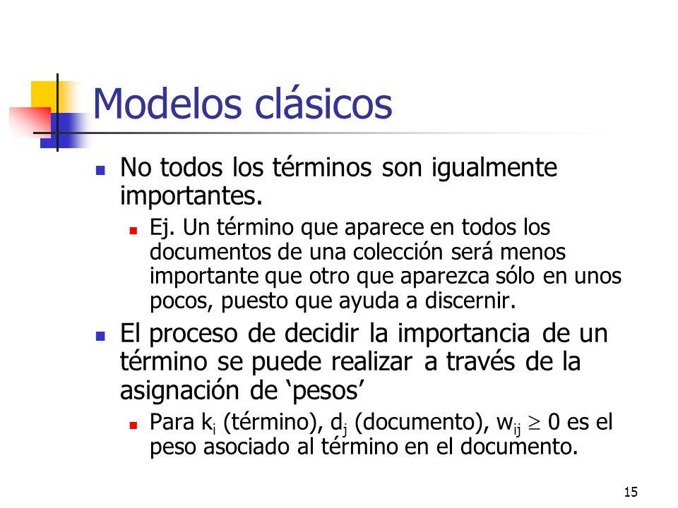 15 Modelos clásicos No todos los términos son igualmente importantes. Ej. Un término que aparece en todos los documentos de una colección será menos i