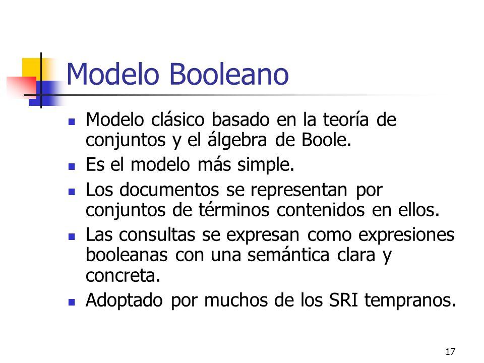 17 Modelo Booleano Modelo clásico basado en la teoría de conjuntos y el álgebra de Boole. Es el modelo más simple. Los documentos se representan por c