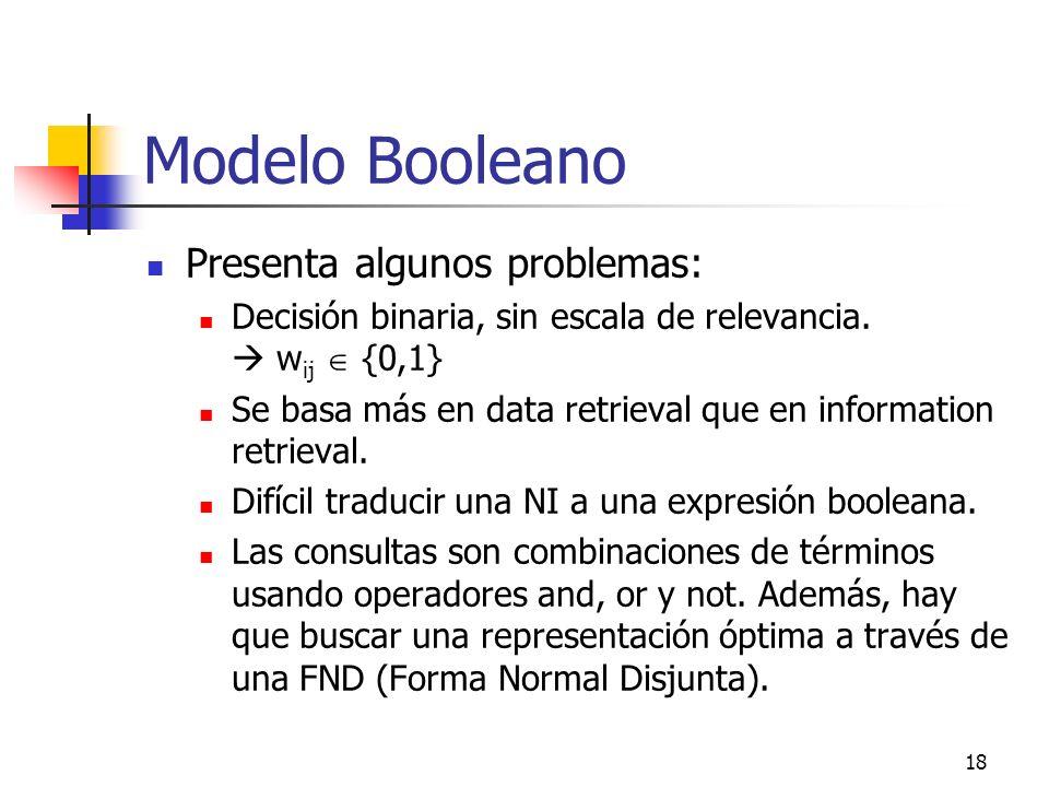 18 Modelo Booleano Presenta algunos problemas: Decisión binaria, sin escala de relevancia. w ij {0,1} Se basa más en data retrieval que en information