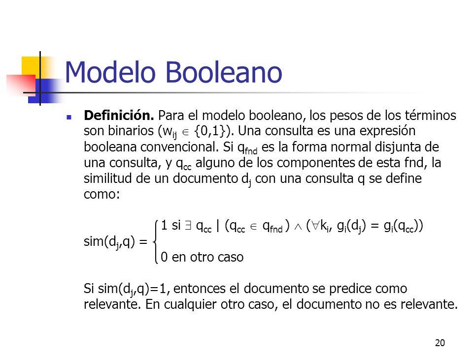 20 Modelo Booleano Definición. Para el modelo booleano, los pesos de los términos son binarios (w ij {0,1}). Una consulta es una expresión booleana co