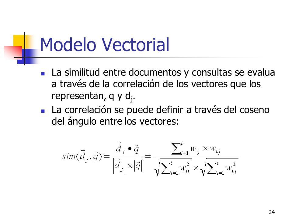 24 Modelo Vectorial La similitud entre documentos y consultas se evalua a través de la correlación de los vectores que los representan, q y d j. La co