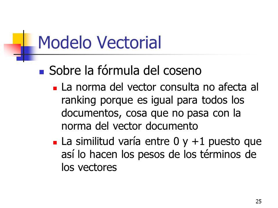 25 Modelo Vectorial Sobre la fórmula del coseno La norma del vector consulta no afecta al ranking porque es igual para todos los documentos, cosa que