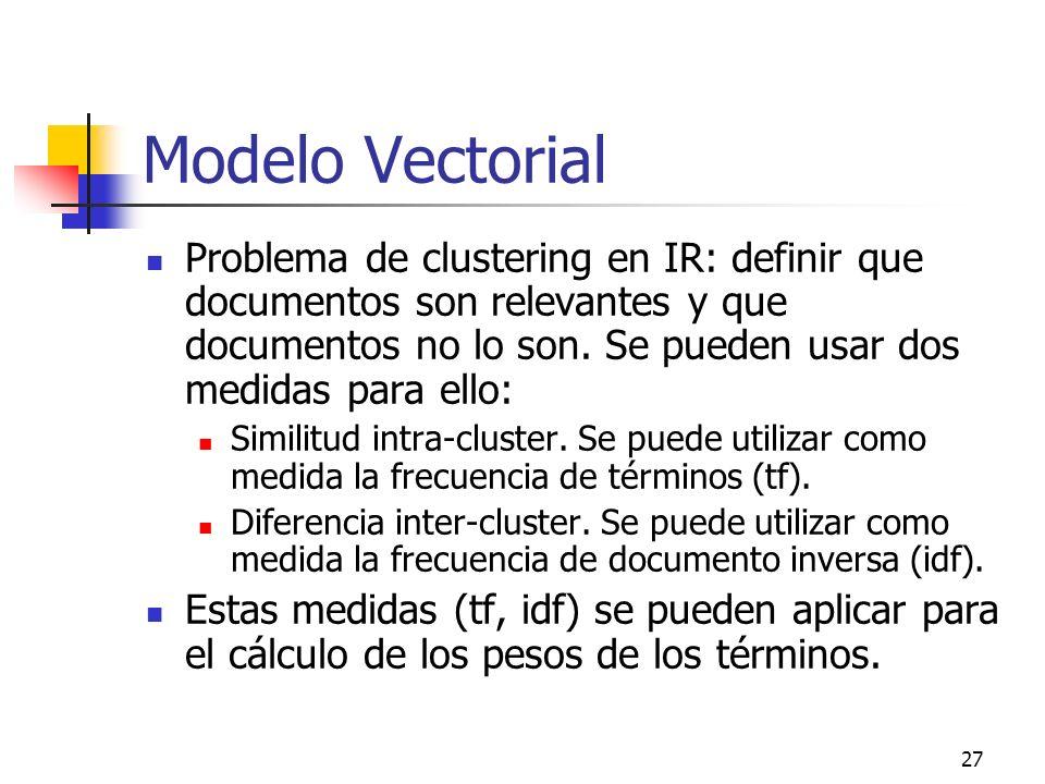 27 Modelo Vectorial Problema de clustering en IR: definir que documentos son relevantes y que documentos no lo son. Se pueden usar dos medidas para el