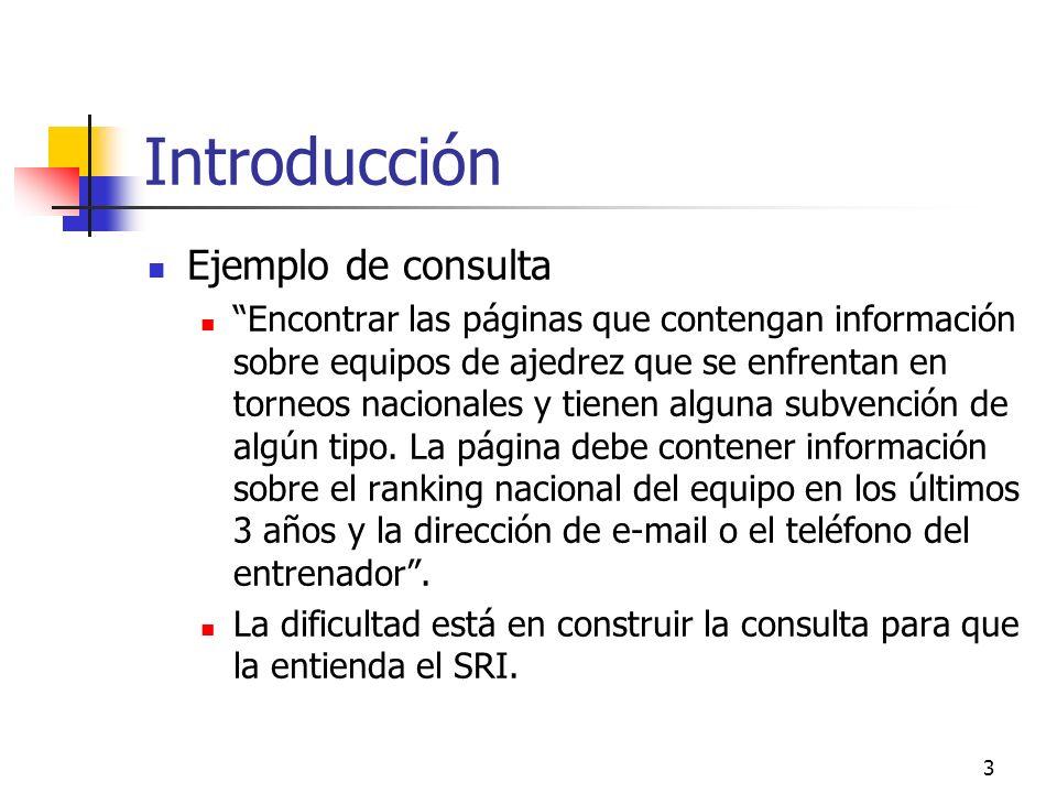 3 Introducción Ejemplo de consulta Encontrar las páginas que contengan información sobre equipos de ajedrez que se enfrentan en torneos nacionales y t