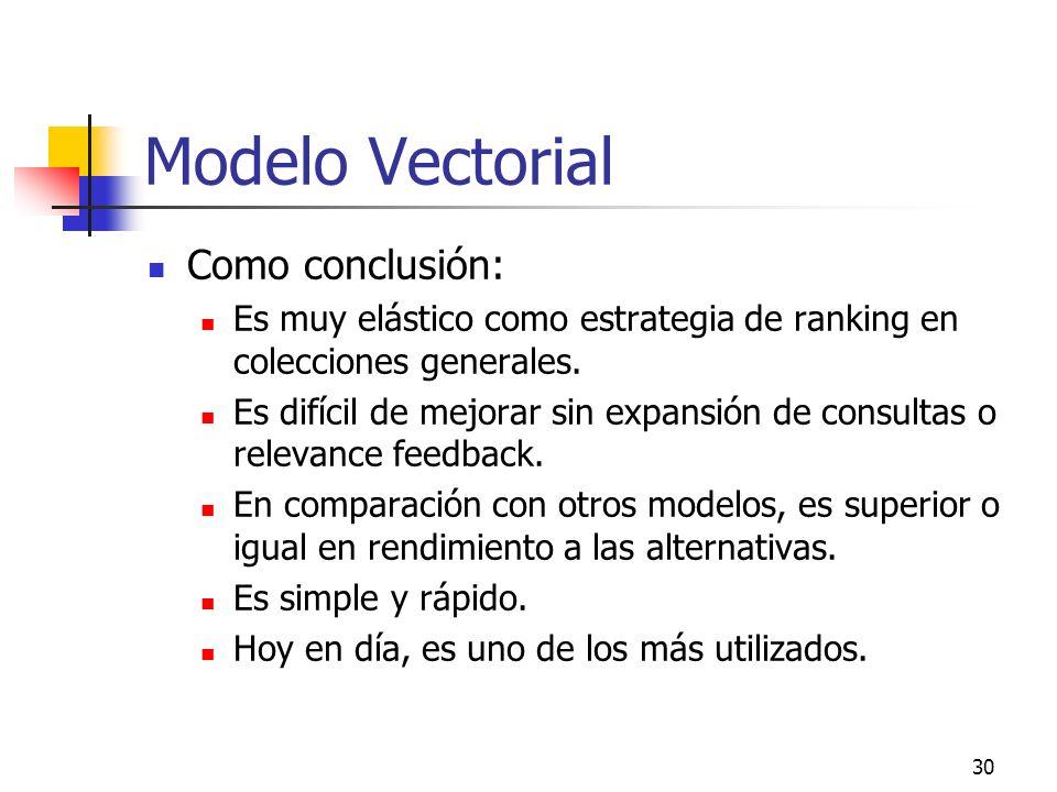 30 Modelo Vectorial Como conclusión: Es muy elástico como estrategia de ranking en colecciones generales. Es difícil de mejorar sin expansión de consu
