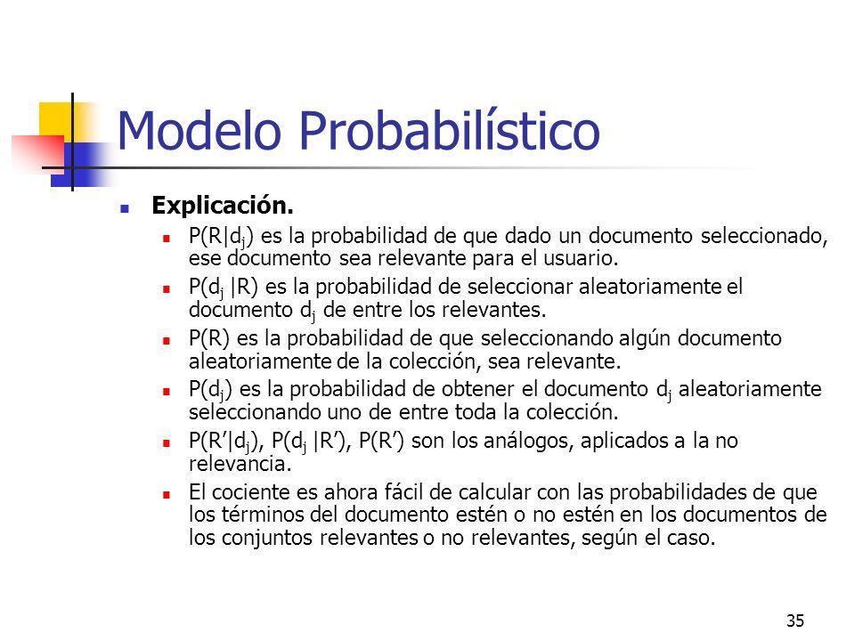 35 Modelo Probabilístico Explicación. P(R|d j ) es la probabilidad de que dado un documento seleccionado, ese documento sea relevante para el usuario.