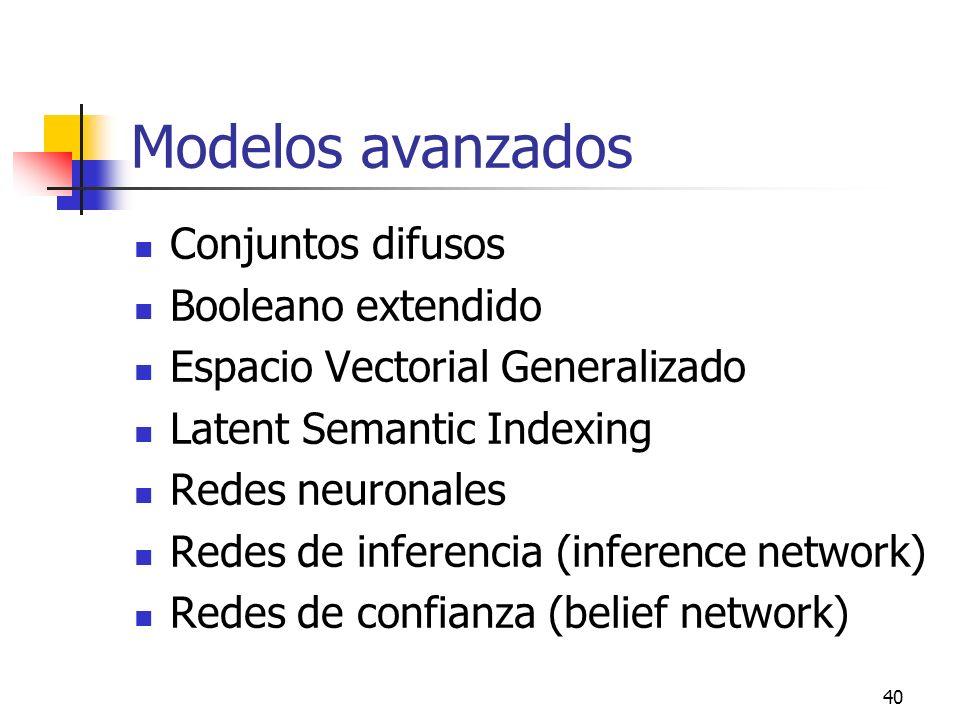 40 Modelos avanzados Conjuntos difusos Booleano extendido Espacio Vectorial Generalizado Latent Semantic Indexing Redes neuronales Redes de inferencia