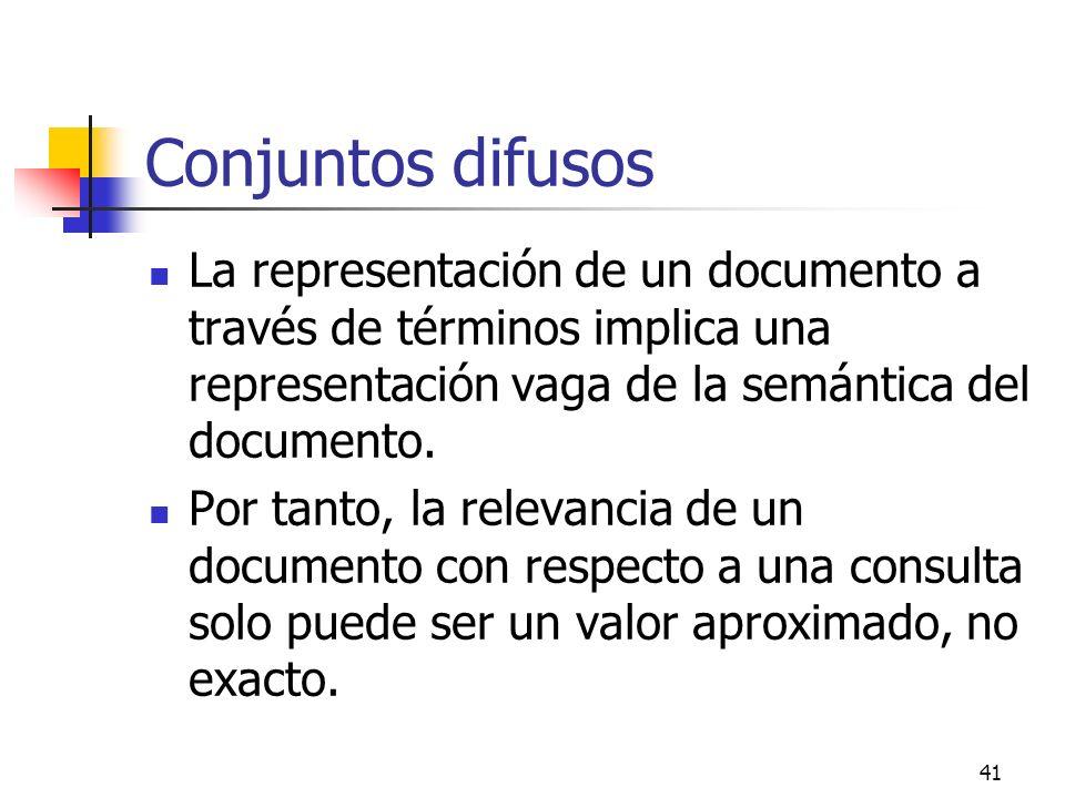 41 Conjuntos difusos La representación de un documento a través de términos implica una representación vaga de la semántica del documento. Por tanto,