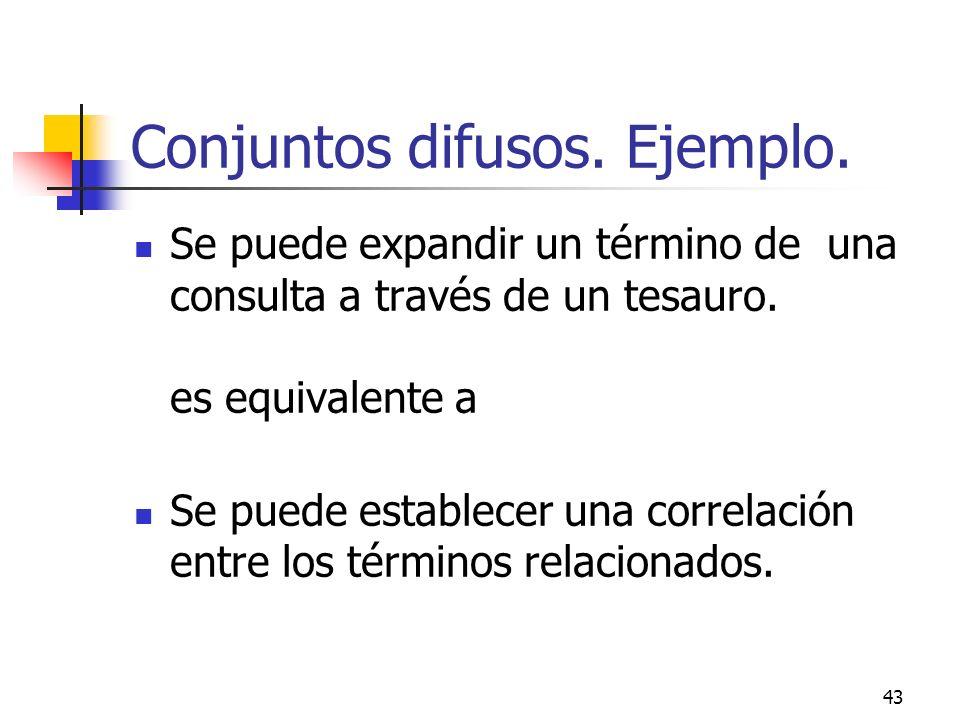 43 Conjuntos difusos. Ejemplo. Se puede expandir un término de una consulta a través de un tesauro. es equivalente a Se puede establecer una correlaci