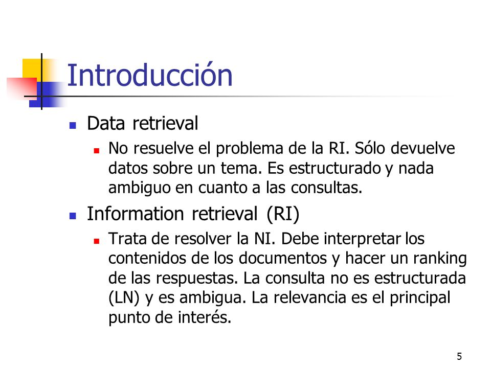5 Introducción Data retrieval No resuelve el problema de la RI. Sólo devuelve datos sobre un tema. Es estructurado y nada ambiguo en cuanto a las cons