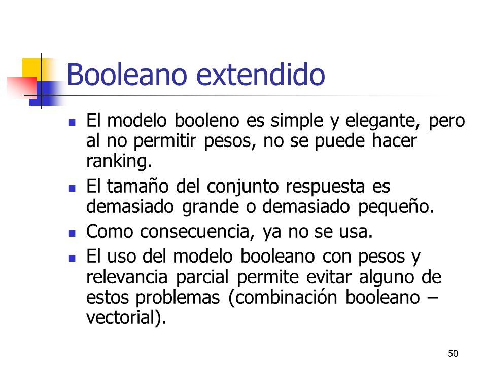 50 Booleano extendido El modelo booleno es simple y elegante, pero al no permitir pesos, no se puede hacer ranking. El tamaño del conjunto respuesta e