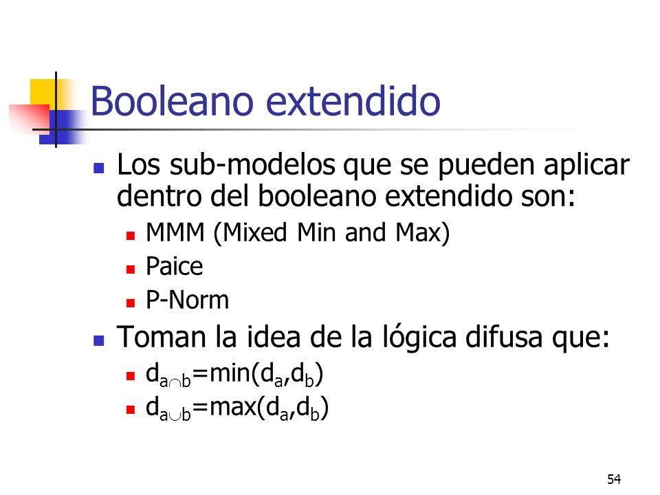 54 Booleano extendido Los sub-modelos que se pueden aplicar dentro del booleano extendido son: MMM (Mixed Min and Max) Paice P-Norm Toman la idea de l