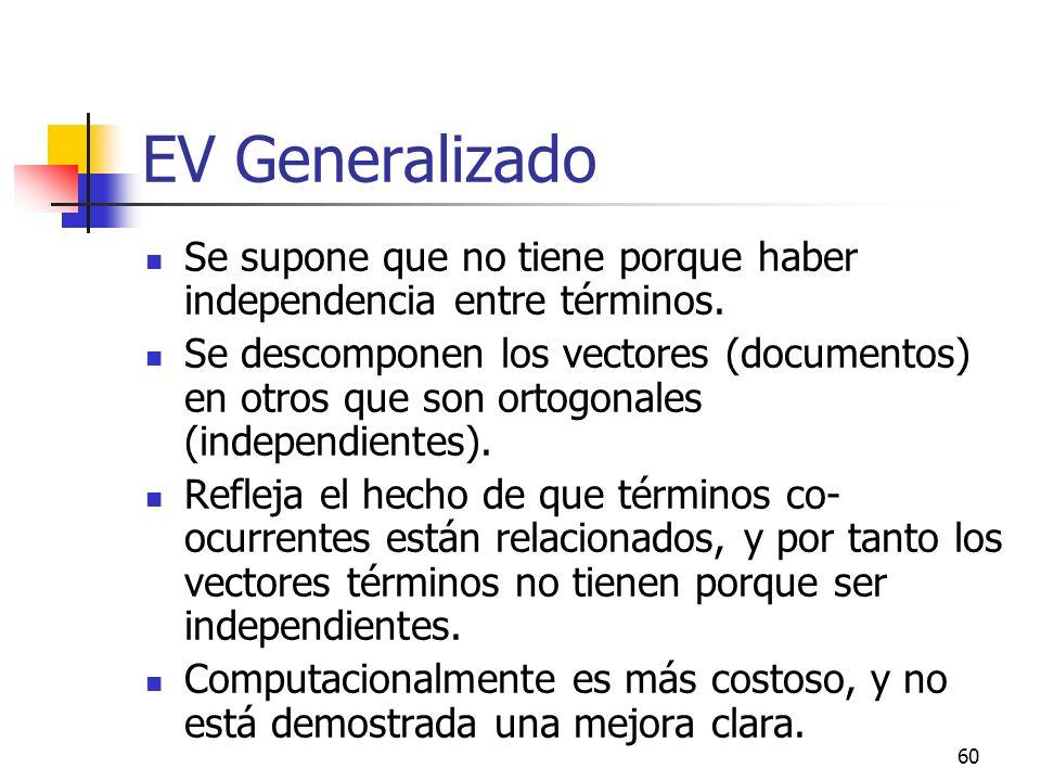60 EV Generalizado Se supone que no tiene porque haber independencia entre términos. Se descomponen los vectores (documentos) en otros que son ortogon