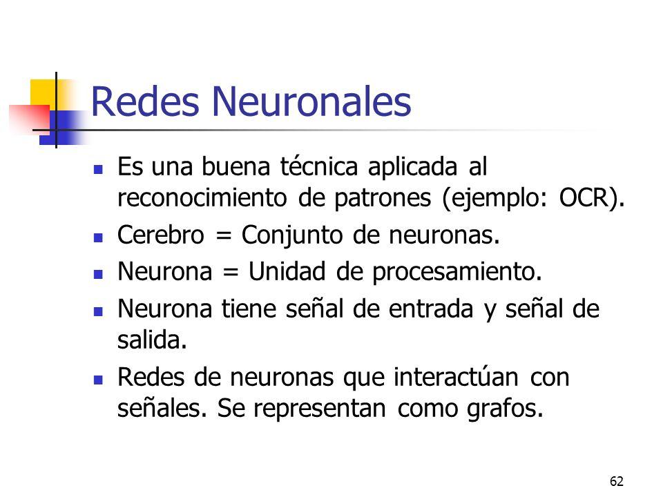 62 Redes Neuronales Es una buena técnica aplicada al reconocimiento de patrones (ejemplo: OCR). Cerebro = Conjunto de neuronas. Neurona = Unidad de pr