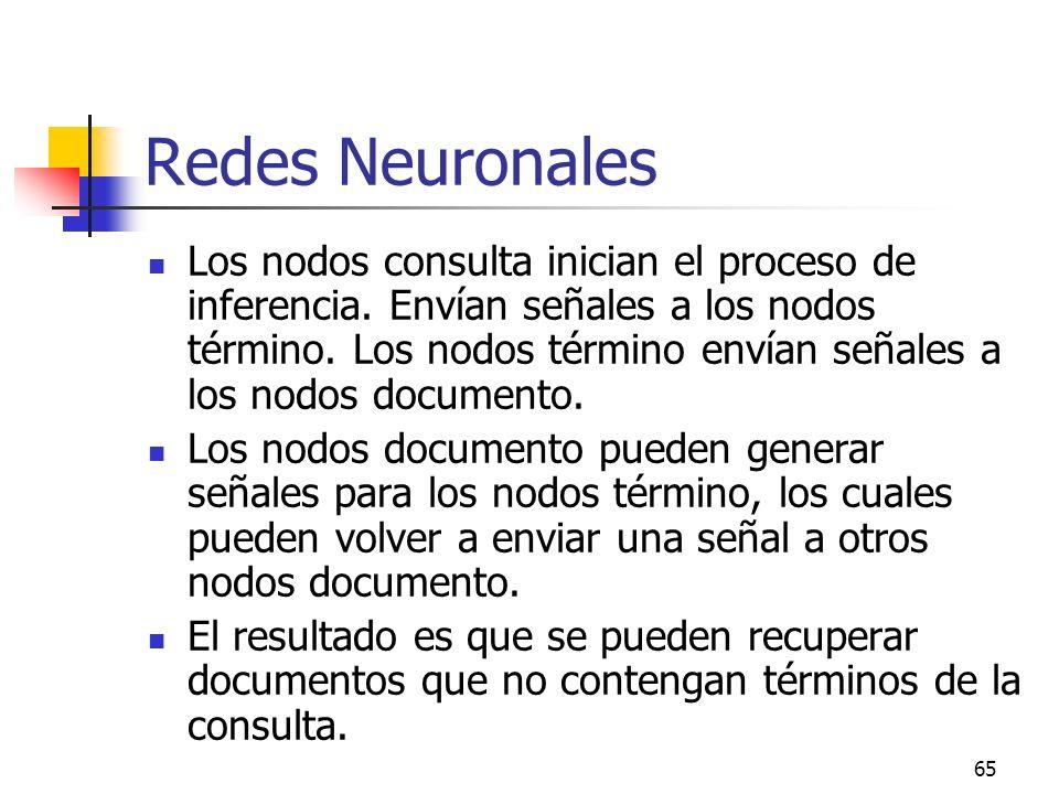 65 Redes Neuronales Los nodos consulta inician el proceso de inferencia. Envían señales a los nodos término. Los nodos término envían señales a los no