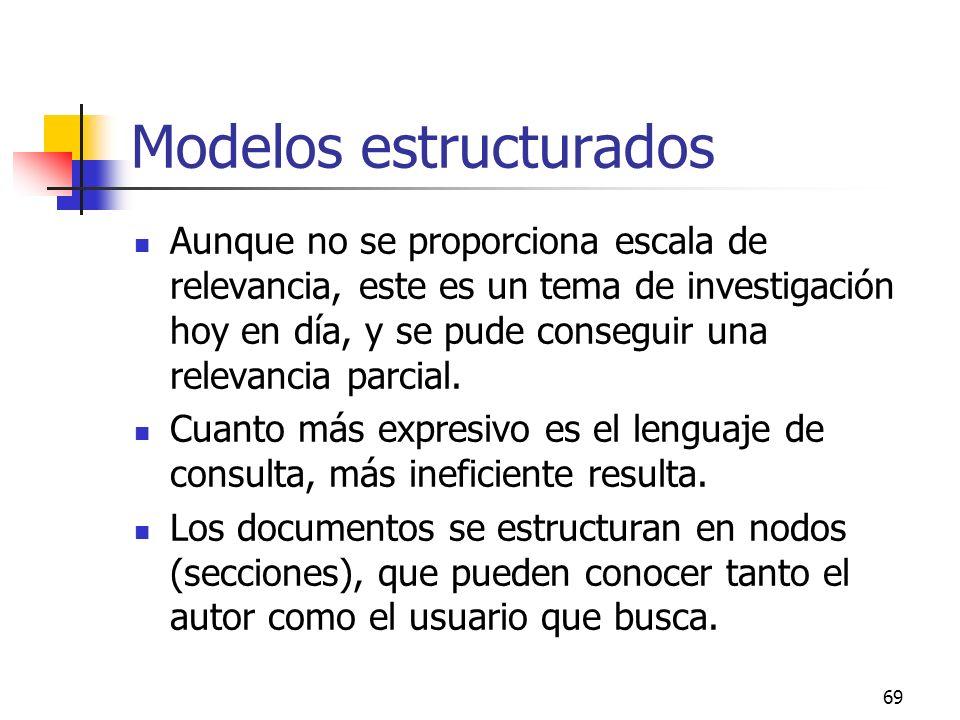 69 Modelos estructurados Aunque no se proporciona escala de relevancia, este es un tema de investigación hoy en día, y se pude conseguir una relevanci