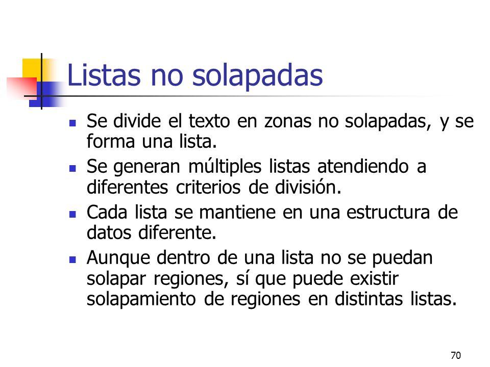 70 Listas no solapadas Se divide el texto en zonas no solapadas, y se forma una lista. Se generan múltiples listas atendiendo a diferentes criterios d