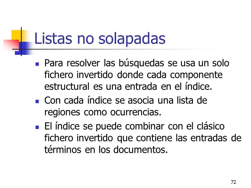72 Listas no solapadas Para resolver las búsquedas se usa un solo fichero invertido donde cada componente estructural es una entrada en el índice. Con