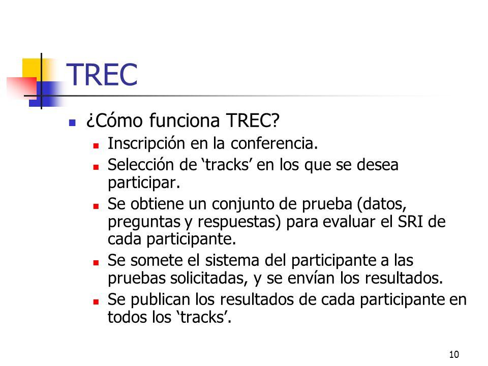10 TREC ¿Cómo funciona TREC? Inscripción en la conferencia. Selección de tracks en los que se desea participar. Se obtiene un conjunto de prueba (dato