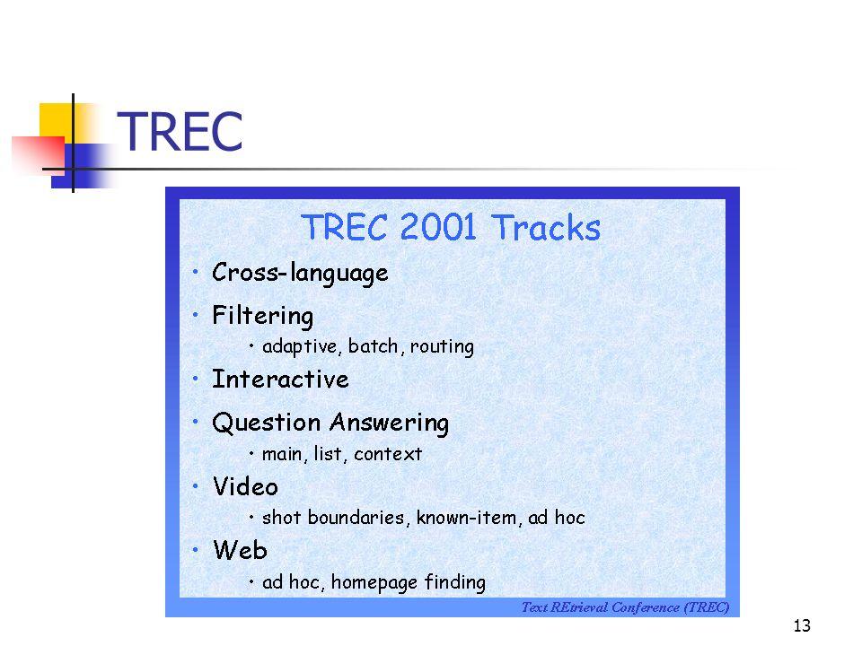 14 TREC Cross-Language Búsqueda ad hoc de documentos escritos en un idioma utilizando palabras en otro idioma diferente.