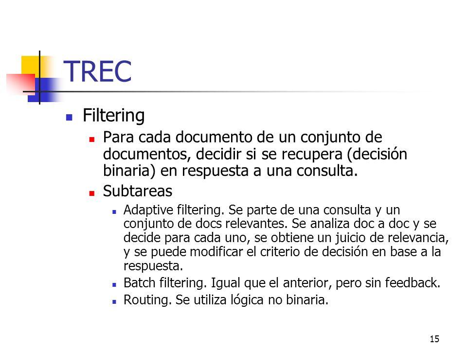 15 TREC Filtering Para cada documento de un conjunto de documentos, decidir si se recupera (decisión binaria) en respuesta a una consulta. Subtareas A