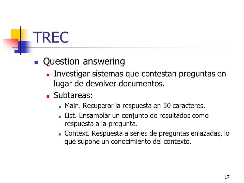 17 TREC Question answering Investigar sistemas que contestan preguntas en lugar de devolver documentos. Subtareas: Main. Recuperar la respuesta en 50