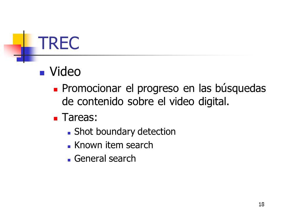 18 TREC Video Promocionar el progreso en las búsquedas de contenido sobre el video digital. Tareas: Shot boundary detection Known item search General