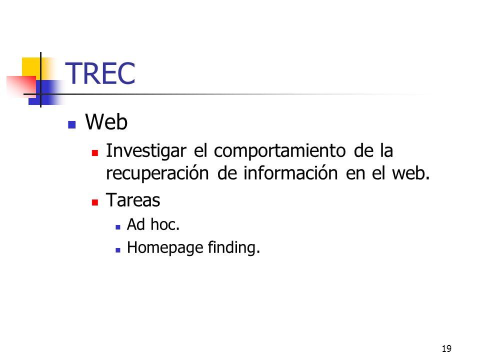 20 TREC Medidas de evaluación Se utilizan las medidas básicas de Precisión (Precision) y Exhaustividad (Recall) para las búsquedas ad hoc y búsquedas en el web.