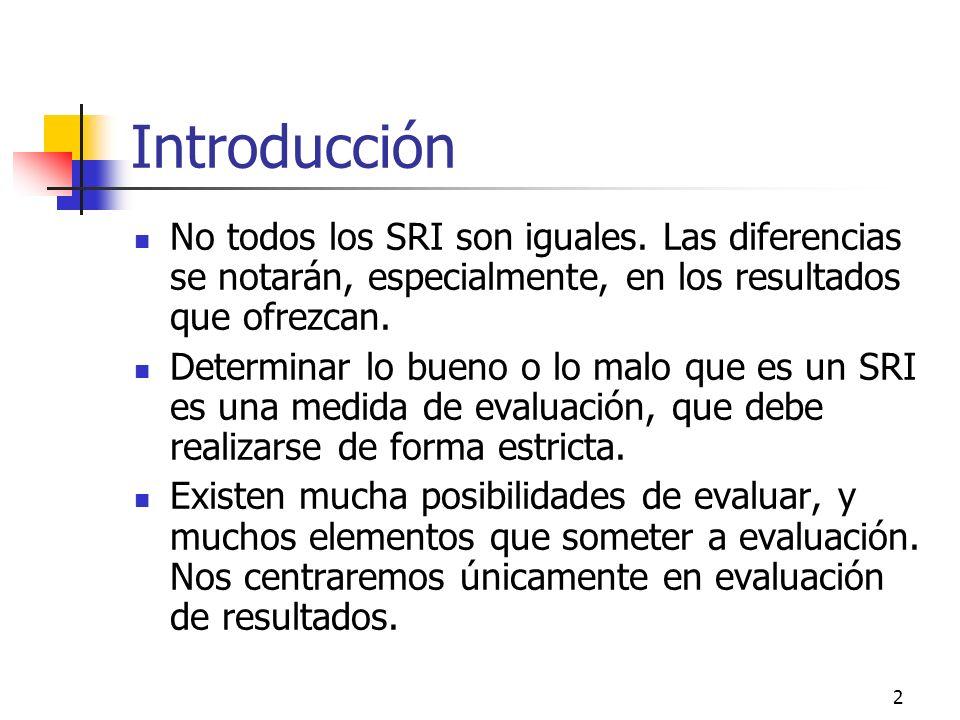 2 Introducción No todos los SRI son iguales. Las diferencias se notarán, especialmente, en los resultados que ofrezcan. Determinar lo bueno o lo malo