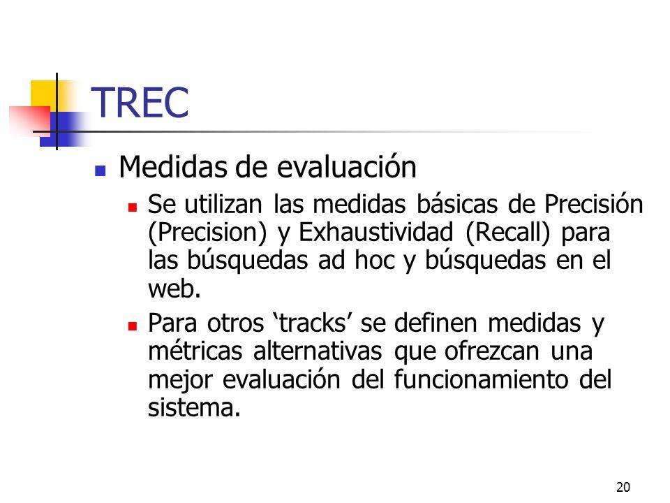20 TREC Medidas de evaluación Se utilizan las medidas básicas de Precisión (Precision) y Exhaustividad (Recall) para las búsquedas ad hoc y búsquedas