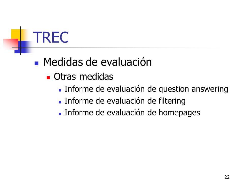 22 TREC Medidas de evaluación Otras medidas Informe de evaluación de question answering Informe de evaluación de filtering Informe de evaluación de ho
