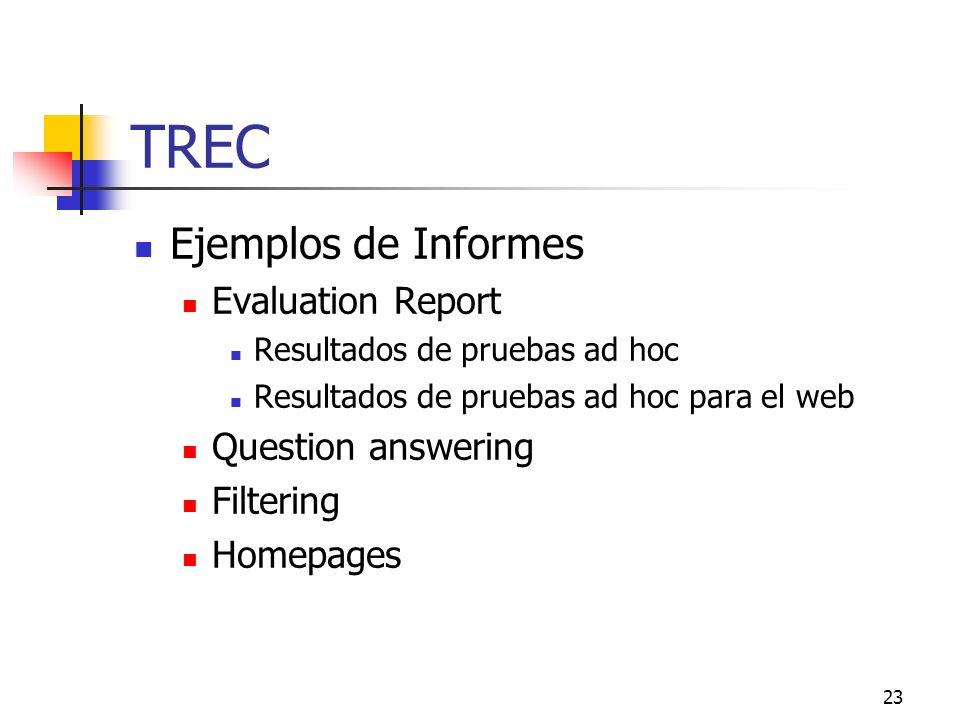 23 TREC Ejemplos de Informes Evaluation Report Resultados de pruebas ad hoc Resultados de pruebas ad hoc para el web Question answering Filtering Home