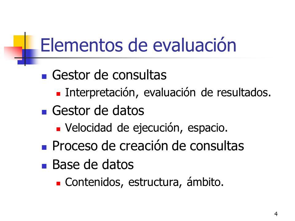 4 Elementos de evaluación Gestor de consultas Interpretación, evaluación de resultados. Gestor de datos Velocidad de ejecución, espacio. Proceso de cr