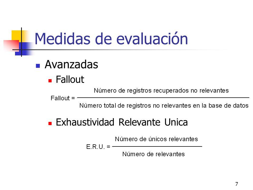 8 Medidas de evaluación Avanzadas Novelty Ratio Relevantes y no conocidos respecto a los relevantes recuperados.