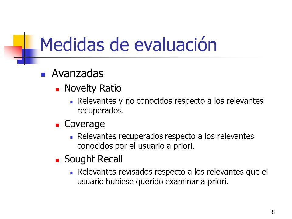 8 Medidas de evaluación Avanzadas Novelty Ratio Relevantes y no conocidos respecto a los relevantes recuperados. Coverage Relevantes recuperados respe
