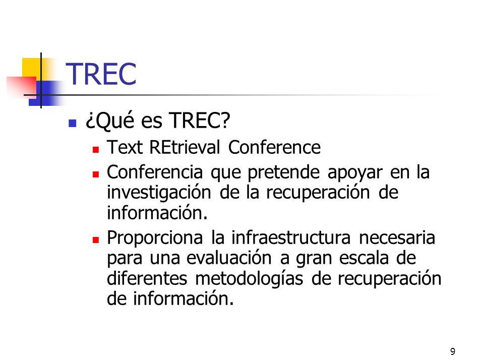 9 TREC ¿Qué es TREC? Text REtrieval Conference Conferencia que pretende apoyar en la investigación de la recuperación de información. Proporciona la i