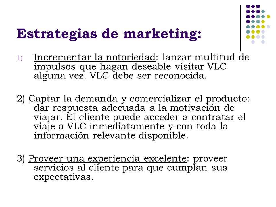 Estrategias de marketing: 1) Incrementar la notoriedad: lanzar multitud de impulsos que hagan deseable visitar VLC alguna vez. VLC debe ser reconocida